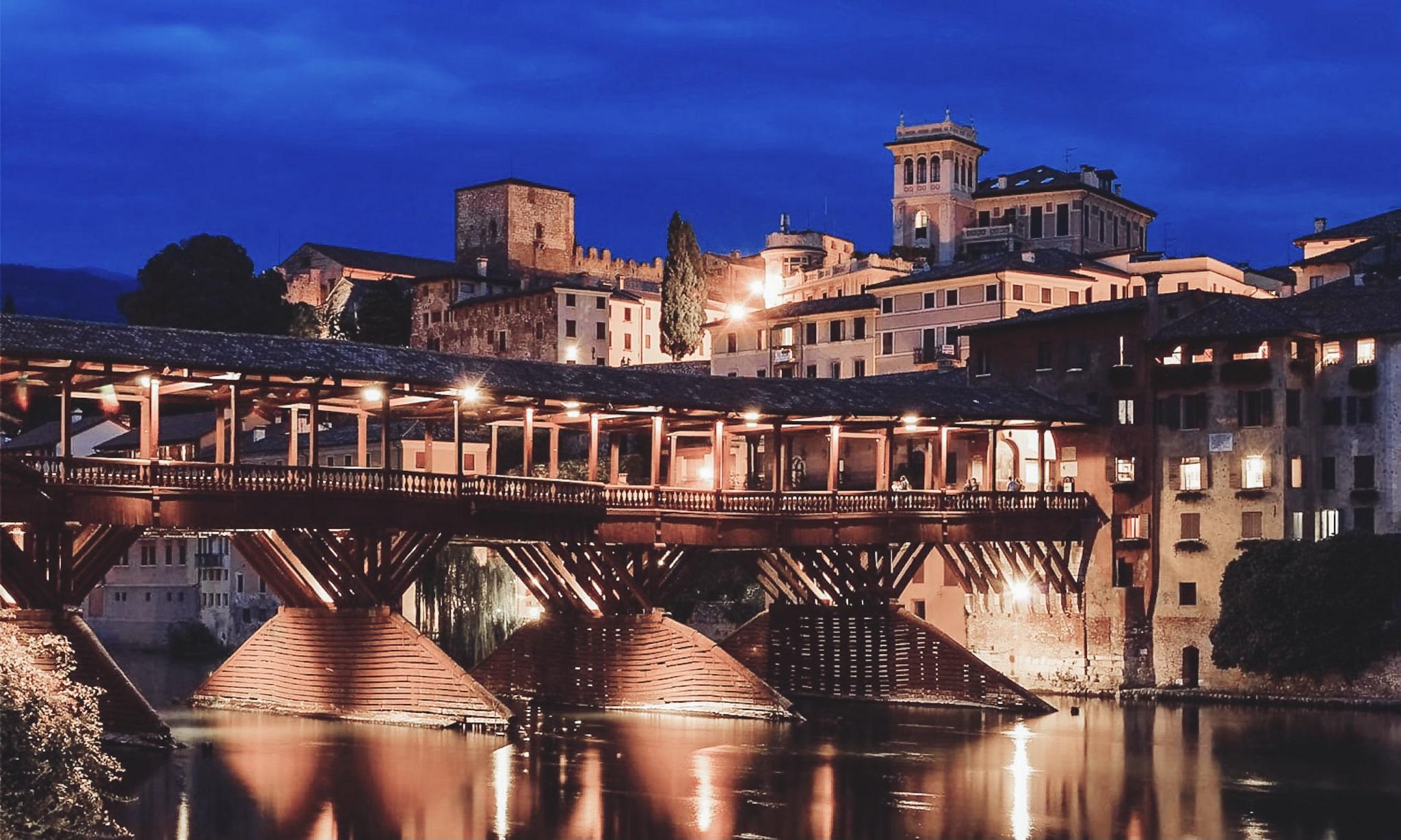 night panorama of bridge in bassano del grappa near Venice Italy