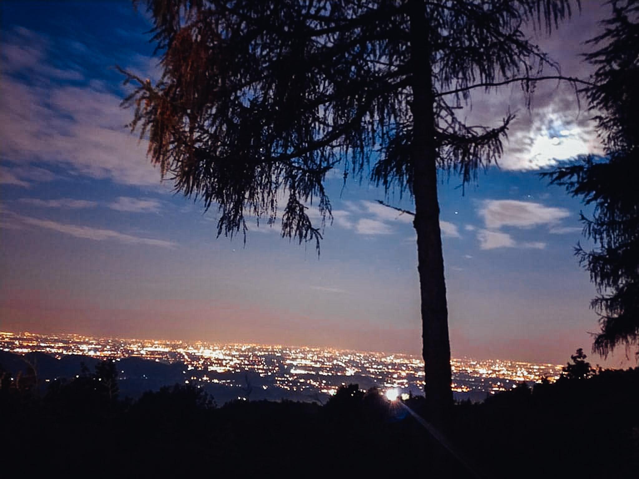Stunning night panorama from best Italian cabin near Venice