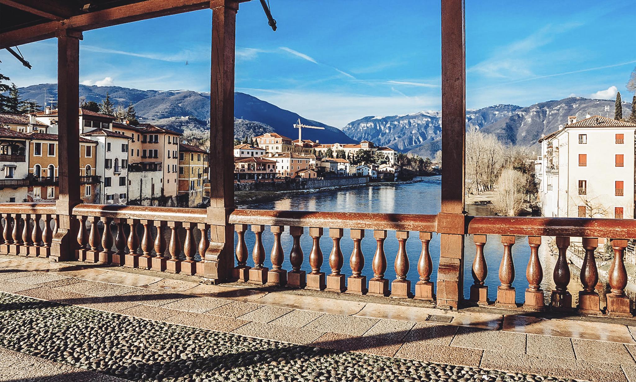 Bassano del grappa town near Venice bridge and attractions